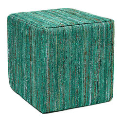 Anji Mountain - Anji Mountain Emerald Saree Pouf - This pouf brings some stylish versatility to your living space. Perfectly sized for duty as a stool or an ottoman and ready to switch gears at a moments notice. It sits nice and firm for excellent support yet offers a touch of comfort with a cushioned top. The cover is made from carefully selected recycled material from vintage Indian sarees and features a dazzling emerald green pile with multi-color highlights. Pouf (1)