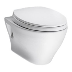 TOTO - Toto CT418FG#01 Aquia Wall-Hung Toilet with Sanagloss, Cotton - TOTO CT418FG#01 Aquia Wall-Hung Toilet with Sanagloss, Cotton