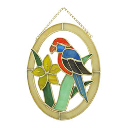 Zeckos - Oval Stained Glass Parrot and Flower Wall Plaque Suncatcher - This colorful stained glass wall plaque features a blue and orange parrot perched on a yellow flower. It measures 8 inches tall, 6 inches wide, 3/4 of an inch deep and is crafted from beautiful pieces of colored glass. Display alone or in a group, on the wall or as suncatchers. NOTE: Suction cup not included.