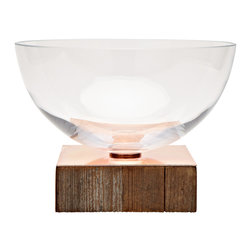 Alpine Bowl, Large, Copper Base - Warm and elegant, this pedestal glass salad bowl has a warm wood base topped with shiny copper. Bowl separates for easy cleaning.