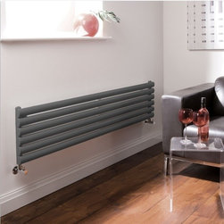 Hudson Reed - Revive - Luxury Anthracite Horizontal Designer Radiator 14 x 63 - With an impressive heat output of 1,009 Watts (3,445 BTUs), this designer radiator, in a fashionable anthracite finish (RAL7016), is stylish and highly efficient, ensuring that your room is heated quickly.This luxury radiator is designed especially for use in any room, looking equally stylish in a modern or traditional setting; its six anthracite horizontal tubes bring a touch of elegance to any living space. This modern version of the traditional cast-iron radiator is also highly functional, connecting directly into your domestic central heating system via the radiator valves included (please choose straight or angled). This radiator comes complete with a 5 YEAR GUARANTEE.Luxury Anthracite Horizontal Designer Radiator 14 x 63 Details  Dimensions: (H x W x D) 14 (354mm) x 63 (1600mm) x 2.15 (55mm) Output: 1,009 Watts (3,445 BTUs) Pipe centres with valves: 61.25 (1555mm) Wall to centre of tapping: 2.75 (70mm) Number of horizontal tubes: 6 (1 thickness) Oval crossbars Fixing Pack Included (see image above) Designed to be plumbed into your central heating system Suitable for bathroom, cloakroom, kitchen etc. Please note: radiator valves included (Please choose angled or straight)  Buy now, to transform your living space, at an affordable price.5 year guarantee Please Note: Our radiators are designed for forced circulation closed loop systems only. They are not compatible with open loop, gravity hot water or steam systems.