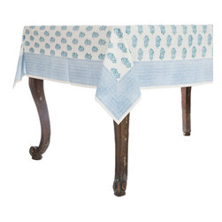 Origin Crafts - Eliza blue tablecloth - Eliza Blue Tablecloth 100% Cotton, block printed. Machine wash, tumble dry low, warm iron as needed. Made in India. Dimensions (in): Square - 55x55 - Seats 2?4 Rectangle - 60x90 - Seats 4?6 Rectangle - 60x120 - Seats 8?10 By Pomegranate Inc. - Pomegranate's vivid prints and wonderfully refreshing