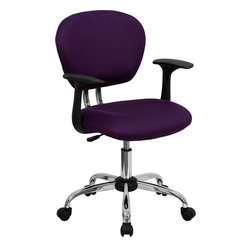Flash Furniture - Flash Furniture Mid-Back Purple Mesh Task Chair with Arms and Chrome Base - This value priced mesh task chair will accommodate your essential needs for your home or office space. This chair will add a splash of color to your office for a non-traditional look. Chair features a breathable mesh material with a comfortably padded seat.