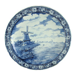 Boch - Large Consigned Vintage Blue Delft Charger Plate - Product Details