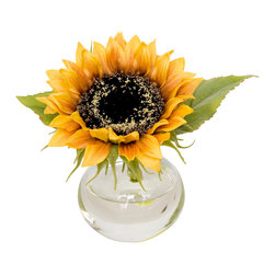 The French Bee - Single Sunflower in Bubble Vase - Happy flowers make for a happy home. Especially when it's a single, bright yellow sunflower in a simple glass bubble vase. You'll have to decide what room you want to make merrier with its optimistic cheer. Or get a few and you won't have to decide! Made from silk, it is ultra realistic down to the pollen sprinkled on the middle seeds.