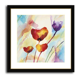 MonDeDe - Tilt Tulps I - Softly rendered tulips have a dreamy, tranquil vibe. Printed on archival quality paper and set in a hand-assembled wood frame, its the perfect artwork to bring a splash of color to your decor.