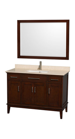 Wyndham Collection - Eco-Friendly Single Sink Vanity with Mirror - Includes ivory marble countertop with backsplash and square undermount porcelain sink. Faucet not included. Transitional style. Pre-drilled for single hole faucet. Practical floor standing design. Four functional doors. Two functional deep doweled drawers. Fully extending under-mount soft-close drawer slides. Concealed soft-close door hinges. Metal exterior hardware in brushed chrome. 12-stage wood preparation, sanding, painting and hand finishing process. Highly water-resistant low V.O.C. sealed finish. Plenty of storage space. Engineered to prevent warping and last lifetime. 1.25 in. mirror thickness. Made from zero emissions solid birch hardwood. Dark chestnut finish.