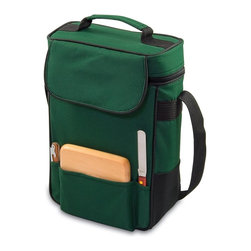 Picnic time - Duet-Green Dlx Wine Tote for 2 - When a full picnic is too much, the Duet is the perfect wine and cheese tote you can take anywhere. It's an insulated tote made of 600D polyester with complementing trim that has 2 compartments for wine. It comes with wine and cheese service. The adjustable shoulder strap makes it easy to carry. Convenient and practical, the Duet is perfect for wine and cheese lovers. A wonderful gift idea!