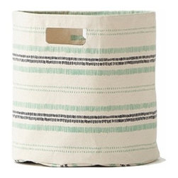 Pehr Grass/Indigo Railroad Canvas Storage Bin - This whimsical storage bin in squiggly indigo blue and grass green horizontal lines is unique and durable. Made from 100% Heavy weight cotton canvas and machine washable. Just one of many prints to choose from, this striped bin will fit perfectly into your child's playroom or bedroom.