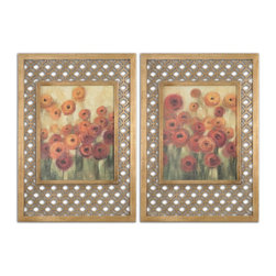 Uttermost - Ranunculi Field Framed Art, Set of 2 - These colorful oil reproductions feature a hand applied brushstroke finish. Frames have a gold leaf finish with a light antique stain. The decorative center portions of the frames are made of laser cut wood.