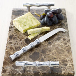 'Bamboo' Cheese Board & Knife - The aluminum bamboo-shaped handles of this cheese board offset the dark marble perfectly.