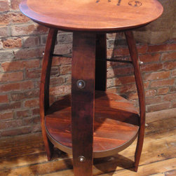 """accent furniture - American made bistro table made from wine barrels.  Authentic stamped wine vendor logo on top.  Made from Pine and Oak wood with pine stained finish.  35""""H x 23""""W x 23""""D"""