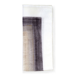 Brushstroke Napkin - White/Grey - The dark-colored center and white edge of the Brushstroke Napkin reverse the usual pattern of designed hems on white table linens, and the effect is breathtaking, subverting tradition for a fresh, rich transitional look that's easy to personalize. Elegant either folded for casual meals or drawn through a napkin ring for a more luxe setting, these napkins are instant signature linens. This item is sold as a single unit.
