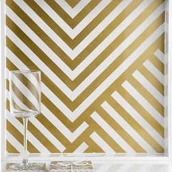 Chevron Tray - This gold and white chevron tray is perfect for dressing up the dining table.