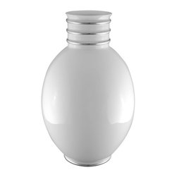 Maison Alma - Arienne Egg Vase, White & Platinum - This graceful porcelain vase was handcrafted in Portugal in the traditional Limoges style. The lustrous glaze is accented by bands of 24-karat gold or platinum at the throat and base, adding an extra touch of luxury.