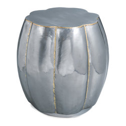 Kathy Kuo Home - Katabon Global Bazaar Polished Steel Bulb Stool Side Table - An eclectic combination of Industrial and natural design, this flower bud-shaped side table is a shimmering show of style. Polished steel is detailed with distressed edges for a weathered patina.