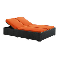 LexMod - Evince Two-Seater Outdoor Wicker Patio Chaise Recliner in Espresso with Orange C - Fuse together balanced portrayals with the Evince Chaise Lounge. Bring a tangible expression to your outdoor porch or pool setting from heightened perspectives. With a dual-adjustable upper portion and cushions on an espresso rattan base, demonstrate your objectives while holding onto guarded elegance.