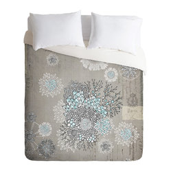 Iveta Abolina French Blue King Duvet Cover - Silvery gray creates a soothing neutral background for an oversize floral sketch minimally accented with sky blue. This stylish contemporary duvet cover will blend in nicely with your bedroom's cool neutrals while providing an elegant, subtle focal point.