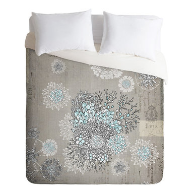 DENY Designs - Iveta Abolina French Blue King Duvet Cover - Silvery gray creates a soothing neutral background for an oversize floral sketch minimally accented with sky blue. This stylish contemporary duvet cover will blend in nicely with your bedroom's cool neutrals while providing an elegant, subtle focal point.