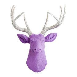 White Faux Taxidermy - The Sophia - Lavender Faux Resin Deer Head w/Silver Glitter Antlers - Measurements: