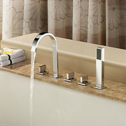 Contemporary Brass Tub Faucet with Hand Shower - Chrome Finish - Faucet Type: Bathtub Faucet
