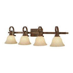 Golden Lighting - Rockefeller CB 4-Bulb Vanity Light - Bulbs not included. Requires four 100 watt medium base incandescent type A bulbs. Four E27 sockets. Electric wire gauge: 3321 18# 150 degree C. Traditional style. Square arm shape. Decorative bracing. Tea stone glass shade. Provides well diffused light over vanity or mirror for grooming. UL listed damp location for use in bathroom or under an eave. Total wattage: 400. Made from metal, glass and poly resin. Champagne bronze color with antique patina highlights. Wire length: 8 in.. Shade: 7.5 in. Dia. x 5 in. H. Backplate extension: 0.62 in.. Backplate: 8 in. W x 4.5 in. H. Extension: 9.75. Overall: 38.5 in. W x 9.75 in. H (9.92 lbs.). Warranty. Assembly Instructions