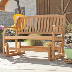 Upton Home - Upton Home Reseda Teak Outdoor Glider Bench - The graceful yet rustic style of this teak glider bench is perfect for accenting your outdoor or patio area and works well with transitional to contemporary d�cor. The durable teak wood will provide elegant use for many years.