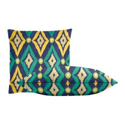 """Cushion Source - Modern Ikat Ultramarine Throw Pillow Set - The Modern Ikat Ultramarine Throw Pillow Set consists of 18"""" x 18"""" cotton throw pillows with an updated ikat pattern in royal, aqua, mustard, chartreuse, and natural."""