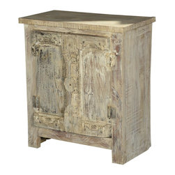 "Sierra Living Concepts - Nottingham Reclaimed Wood Accent Storage Cabinet - Invite a little bit of December home every month of the year with the Nottingham Winter 30"" Accent Cabinet. This rustic gothic end table cabinet has an authentic aged quality because it is built with reclaimed wood from Gujarat. The surfaces have been weathered over time and we honor that process by refraining from adding paints or stains."