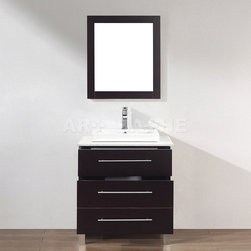 Art Bathe Ginza 28 Smoked Ash Bathroom Vanity - Dimensions(In Inches):