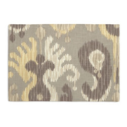 Gray & Yellow Giant Ikat Custom Placemat Set - Is your table looking sad and lonely? Give it a boost with at set of Simple Placemats. Customizable in hundreds of fabrics, you're sure to find the perfect set for daily dining or that fancy shindig. We love it in this oversized ikat that makes a big (literally!) statement in soft shades of gray & light yellow on luxurious linen.