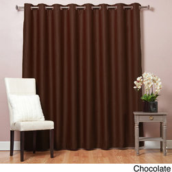 None - Extra Width Thermal 95-inch Blackout Curtain Panel - Lower energy costs each month with this polyester blackout curtain panel. The panel keeps warm air from escaping during the winter and heat from seeping in during the summer. Enjoy fewer sleep disruptions because the curtain blocks out light and noise.