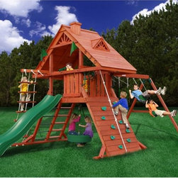 Gorilla Playsets - Gorilla Sun Palace Swing Set - 01-0012 - Shop for Swings Slides and Gyms from Hayneedle.com! When we used to build forts out of sofa cushions our mental image was of something as impressive as the Gorilla Sun Palace Swing Set. Corrosion-resistant hardware factory-sealed cedar timbers and the most popular playground elements come together to make something is truly dedicated to the hard work of having fun.Centered around the 24-square-foot main platform exciting features extend in every direction. Integrated features include a flag kit tic-tac-toe board telescope and steering wheel. Kids can get in or out on the rock wall with climbing rope or the deluxe rope ladder. An extreme wave slide or metal rung step ladder give access from the other directions. You won't worry about the elements or your neighbor's view into your yard when you see the heavy-duty cedar roof adorned with dormers custom scroll work and a chimney.Gorilla Playsets has made a big contribution to the home playground with their patented heavy-duty A-frame bracket for swing sets. Your swing set comes with 3 swing beam positions so you can find the perfect home for two belt swings and a trapeze. To finish it off you have a swiveling turbo tire swing hung from the bottom of the central platform. This playset is recommended for children from 3 to 11 but if you ask really nice I bet your kids will let you come aboard.This playset will require approximately 6 - 8 hours of setup and some moderate use of hand tools. All wooden components are pre-sanded and pre-drilled for safe and easy assembly.Additional Features:Free-standing design requires no stakes or footings3-position swing set beam on patented A-frame bracketTurbo tire swing with swivelStep ladder and metal rung ladder comboSunburst Wood Roof with Dormers Chimney and Custom Scroll WorkSteering wheel tic-tac-toe board flag kit and telescopeTimber shield poly-coating on all wooden componentsIncludes owner's manual 3-D assembly instruc