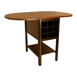 Carolina Accents - Sullivan Counter Height Drop Leaf Table in Cherry Finish - Equipped with wine storage. Two storage drawers. Two drop leaves for additional seating. Pull out tray. Lower storage shelf. Top in traditional cherry finish and base in black with brown rub through. No assembly required. 54.5 in. L x 30 in. W x 36 in. HThis farmhouse counter table is totally functional and fun.