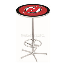 Holland Bar Stool - Holland Bar Stool L216 - 42 Inch Chrome New Jersey Devils Pub Table - L216 - 42 Inch Chrome New Jersey Devils Pub Table  belongs to NHL Collection by Holland Bar Stool Made for the ultimate sports fan, impress your buddies with this knockout from Holland Bar Stool. This L216 New Jersey Devils table with retro inspried base provides a quality piece to for your Man Cave. You can't find a higher quality logo table on the market. The plating grade steel used to build the frame ensures it will withstand the abuse of the rowdiest of friends for years to come. The structure is triple chrome plated to ensure a rich, sleek, long lasting finish. If you're finishing your bar or game room, do it right with a table from Holland Bar Stool.  Pub Table (1)