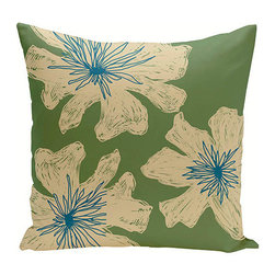 e by design - Floral Beige and Green 16-Inch Cotton Decorative Pillow - - Decorate and personalize your home with coastal cotton pillows that embody color and style from e by design   - Fill Material: Synthetic down  - Closure: Concealed Zipper  - Care Instructions: Spot clean recommended  - Made in USA e by design - CPO-NR18-Bamboo_Ginger_Teal-16