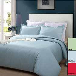 None - 250 Thread Count Solid 3-piece Duvet Cover Set - Snuggle up beneath this solid-colored cotton duvet cover set with a good book on a chilly day. This beautiful comforter set is made from soft yet durable cotton,and the machine-washable fabric is easy to clean. Shams are included to complete the look.