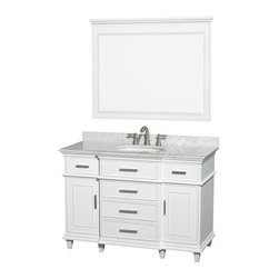 "Wyndham Collection(R) - Berkeley 48"" Single Bathroom Vanity by Wyndham Collection - White - The Wyndham Collection is an entirely unique and innovative bath line. Sure to inspire imitators, the original Wyndham Collection sets new standards for design and construction. If your bathroom's asking you for a facelift, the Berkeley is a worthy choice. At once elegant, classic and contemporary, the Berkeley vanity lends an air of sophistication and charm to any bathroom, from a Soho penthouse to a rustic country home. Carefully hand built to last for decades and finished in White or Dark Chestnut, this solid wood vanity is trimmed with brushed chrome hardware to compete the timeless look. Available in multiple sizes and finishes. FeaturesConstructed of environmentally friendly, zero emissions solid Birch hardwood, engineered to prevent warping and last a lifetime12-stage wood preparation, sanding, painting and finishing processHighly water-resistant low V.O.C. sealed finishBeautiful transitional styling that compliments any bathroom Practical Floor-Standing DesignMinimal assembly requiredDeep Doweled DrawersFully-extending under-mount soft-close drawer slidesConcealed soft-close door hinges Counter options include Ivory Marble, and White Carrera Marble Counter includes 3"" backsplash Available with Porcelain undermount sink(s)8"" widespread 3-hole faucet mountFaucet(s) not includedMetal exterior hardware with brushed chrome finishTwo (2) functional doors Five (5) functional drawers Plenty of counter spaceVariations in the shading and grain of our natural stone products enhance the individuality of your vanity and ensure that it will be truly uniqueHow to handle your counter Spec Sheet for Vanity Installation Guide Spec Sheet for 24"" Mirror Spec Sheet for 44"" MirrorNatural stone like marble and granite, while otherwise durable, are vulnerable to staining from hair dye, ink, tea, coffee, oily materials such as hand cream or milk, and can be etched by acidic substances such as alcohol and soft drinks. Please protect your countertop and/or sink by avoiding contact with these substances. For more information, please review our ""Marble & Granite Care"" guide."