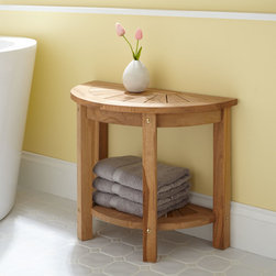 Surya Small Half-Circle Teak Shower Seat - Crafted of gorgeous teak, the Surya Shower Seat has a space-saving semi-circular design that fits nicely against a wall or other flat surface.