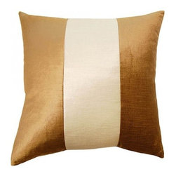Squarefeathers - York, Ivory Band Pillow - Give yourself a royal welcome when you come home to the York pillow collection. An elegant collection that shines in the light. It has a soft and pump feataher/down insert inclosed with a zipper. Like all of our products, this pillow is handmade, made to order exclusively in our studio right here in the USA.