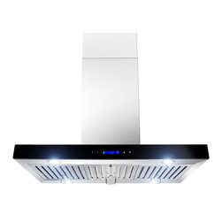"AKDY - AKDY AK-ZGL9010-2 Euro Stainless Steel Island Mount Range Hood, 36"" - AKDY 9010-2, designed of brushed stainless steel, this traditional Italian design chimney hood will be the main focal point for your kitchen. Brilliant LED lighting provides impressive illumination over and around the cook top. A powerful, yet quiet internal blower is included for fast and easy installation. Ductless feature is available."