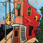 Sun Studio (Original) by Darlene Newman - Being from Memphis, I find it important to represent landmarks in my hometown. I wanted to depict, in my own style, the place where Elvis recorded and where other artists still record today.