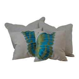 """Great Deal Furniture - 18"""" Embroidered Wings Pillows (Set of 2) - Add contemporary design to your seating areas with our decorative pillow sets. Featuring a linen blend cover, you'll find these pillows stylish and comfortable."""