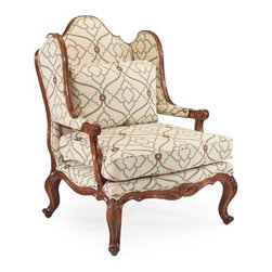 Summer Arm Chair by John Richard - The Summer Arm Chair is a traditional wing back chair with a medium wood finish and geometric upholstery fabric.