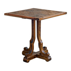 Uttermost - Lucy Squared End Table - Hand Carved, Plantation-grown Mango Wood In Distressed Honey Finish.