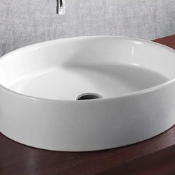 Caracalla - Oval White Ceramic Vessel Bathroom Sink - Contemporary style, oval white ceramic vessel bathroom Sink with no hole. Stylish above counter washbasin comes without overflow. Made in Italy by Caracalla. Made out of white ceramic. Contemporary design. Without overflow. Standard drain size of 1.25 inches.