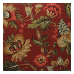 """Close to Custom Linens - 84"""" Shower Curtain, Lined, Elizabeth Floral Cardinal Red - Elizabeth Cardinal is a lovely updated floral with shades of red, gray-blue, green, brown, gold and cream on a dark red background."""