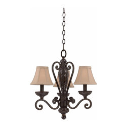 Triarch - Triarch Jewelry Chandelier X-84413 - The Jewelry 3-Light Chandelier in Harvest Bronze with Silk back Ecru Linen shades and Mosaic Glass Accents: This divine piece is perfect for adding personality to your average breakfast nook
