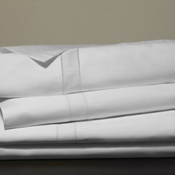 Frontgate - Frette Doppio Sheet Set - 100% Egyptian cotton sateen. Artfully detailed by master Italian weavers in the tradition of fine Italian linens. Machine wash, tumble dry low. Sheet set includes top sheet, bottom sheet, and two pillowcases. Our luxuriously soft Doppio Sheet Set from Frette is embellished with two lines of open hemstitch, creating an elegant border. Classic yet minimal, the design coordinates perfectly with a wide range of decors and styles.  .  .  . . Made in Italy.