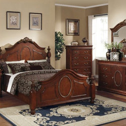 Acme Furniture - Classique Hardwood Cherry Finish 5 Piece King Bedroom Set - 118 - Set includes Eastern King Bed, Dresser, Mirror, Nightstand and Chest